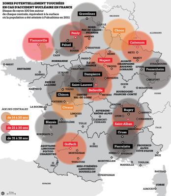 Zone en France pouvant etre touche accident nucleair